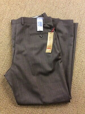 Mens MARKS and SPENCER W40 L31 Brown Wool Chinos Trousers New