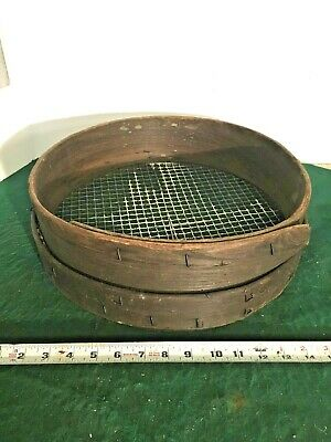 Old Antique Wooden Sifter/Sieve Round Bentwood. Primitive Wood Grain Sifter  15""