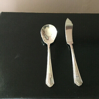"""NEW Gorham """"Old Dominion"""" SILVER-PLATED Butter Knife and Sugar Spoon"""