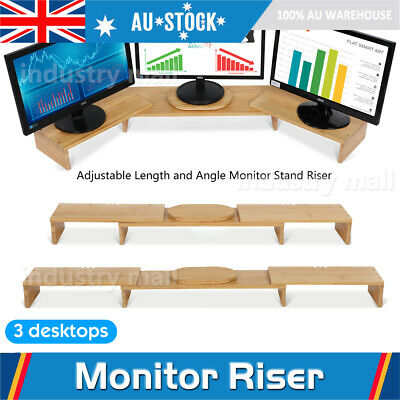Computer 3 Desktops Monitor Riser Stand Container Length Adjustable Bamboo Wood