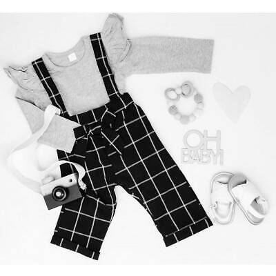 Toddler Kids Baby Girls Long Sleeve Tops Checked Bib Pants Outfits Set Clothes