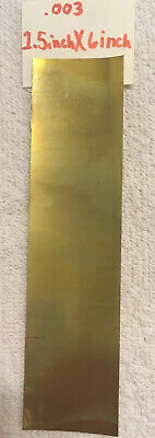"""Brass Shim Stock .003 In. / .076 mm Thick 6"""" X 1.5"""" Sheet Flat Stock"""
