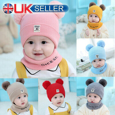 Kids Baby Children Knitted Beanie Hat and Scarves Set Pom Poms
