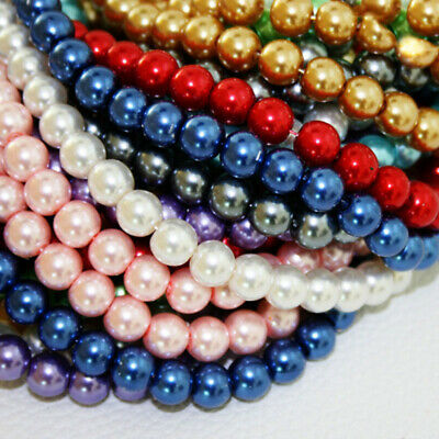 100Pcs Czech Glass Pearl Round Charms Loose Spacer Beads 4mm 6mm 8mm 10mm 12mm