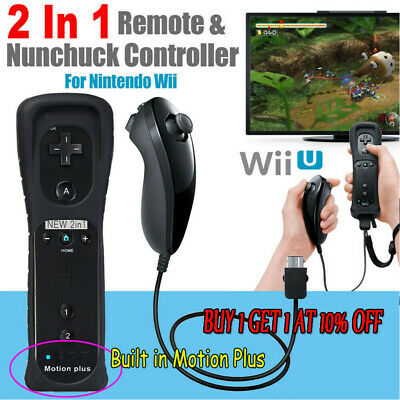 HOT Remote&Nunchuck Controller with Motion Plus For NINTENDO WII 5-Color UK  -