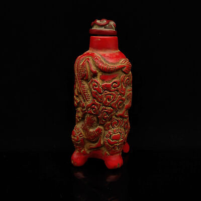 Old Chinese Exquisite Red Coral Hand Carved Dragon Snuff Bottle   S295