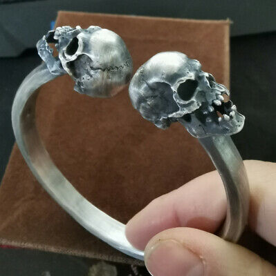 999 Sterling Silver huge heavy men's skull biker handmade bangle bracelet cuff