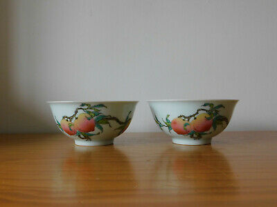 c.20th - Antique Chinese Famille Rose Peach Bowls - Pair