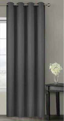 Ready Made Curtain Single Panel Grey Eyelet Ring Top