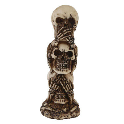 NEW 11.5 COLLECTIBLE SEE HEAR SPEAK NO EVIL VAMPIRE SKELETONS SITTING ON TOP OF EACH OTHER TOTEM STATUE FIGURES