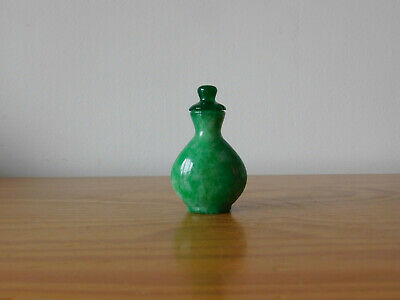 Antique Chinese Apple Green Jade Stone Hand Carved Snuff Bottle - Qing