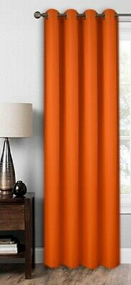 Ready Made Curtain Single Panel  Orange Eyelet Ring Top