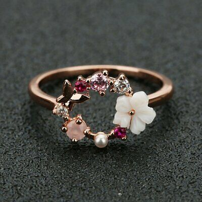 Fashion Butterfly Flower Rose Gold Crystal Finger Knuckle Rings Women Party Gift