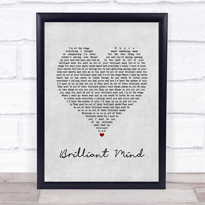 Brilliant Mind 1986 Grey Heart Song Lyric Quote Music Print