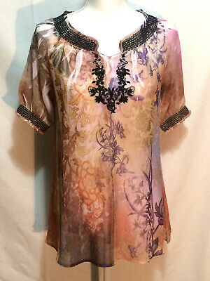 NY Collection Womens top size M sheer boho  gold, purple, black embroidery