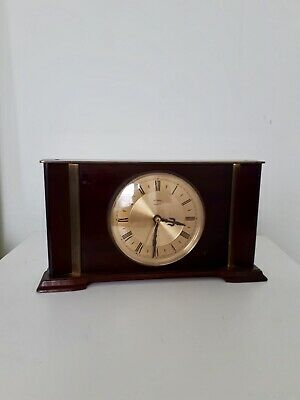 Vintage Metamec Mantle Quartz Clock in Wood & Brass