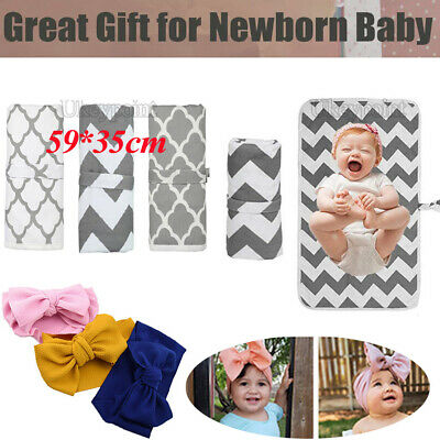 Baby Bow Portable Foldable Washable Travel Nappy Diaper Play Changing Mat Pad UK