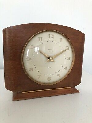 Vintage Retro SMITHS Eight Day Wind Up Wooden Mantle Clock Made in Great Britain
