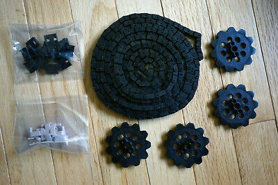 10 Chain Guides//Clips Black Pieces MICRO KNEX LOT 4 Sprocket Gears Chain 6 Ft