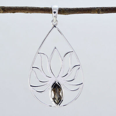 Brown 925 Sterling Silver genuine comely Smoky Quartz supplies Pendant AU gift