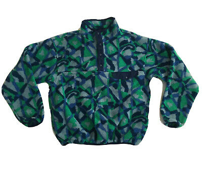 VTG 90s EMS Eastern Mountain Sports Snap T Camo Geometric Fleece Mens M USA Made