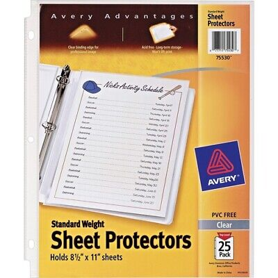 """Avery; Standard Weight Sheet Protectors - For Letter 8 1/2"""" x 11"""" Sheet - Clear"""