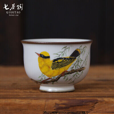 Chinese fine Collection ceramic ru kiln Hand painting Oriole bird gongfu tea cup