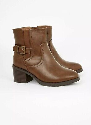 Tan Faux Suede Fur Trimmed Wedge Ankle Boots  Size 8 Wide EEE Fit BNIB~~Evans~~