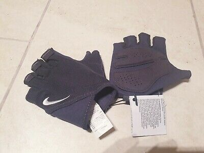 New Authentic Nike Fitness Training Fingerless Gloves Size L Grey Mesh Sports