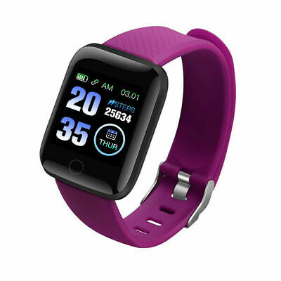 Purple 116Plus Bluetooth Smart Sports Watch Wristwatch Fitness Health Tracker UK