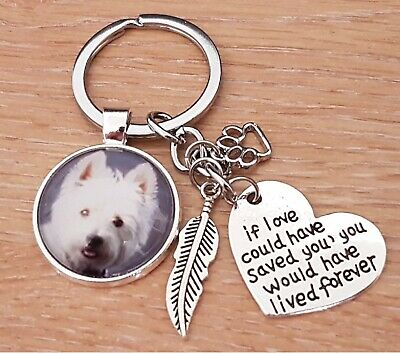 "Personalised Photo Keyring Keychain ""If Love..."" Pet Memory Memorial Present"
