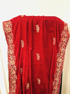 Pakistani Indian Women Velvet Shawl Embroidered Dupatta Salwar Kameez Red