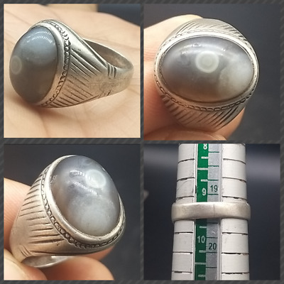 Very Ancinet One Eye Agte Seal  Old Persian Solid Sliver Antique Ring