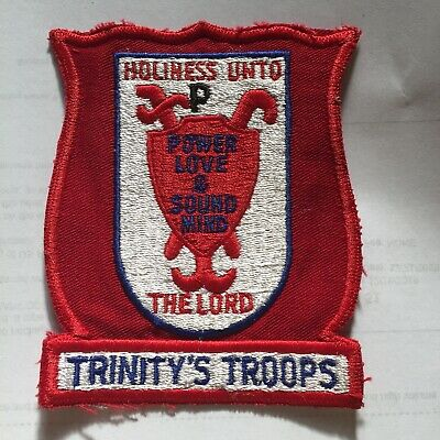 Vintage Trinity Troops Embroidered Patch Holiness Onto The Lord Red N14