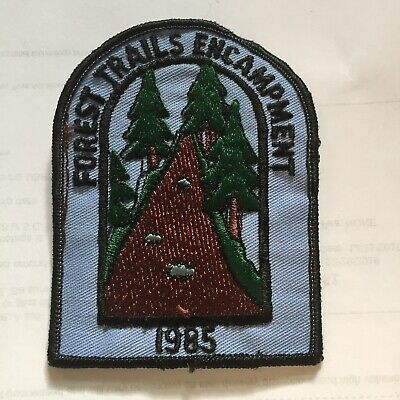 Vintage Forest Trails Encampment Scout Embroidered Patch 1985 Trees N13