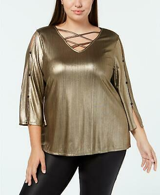Ny Collection Womens Ladies Plus Gold Metallic Criss Cross Blouse Top Size 1X