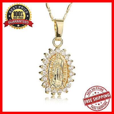 Virgin Mary Necklace Gold Crystal Statement Catholic Jewelry Fashion For Women