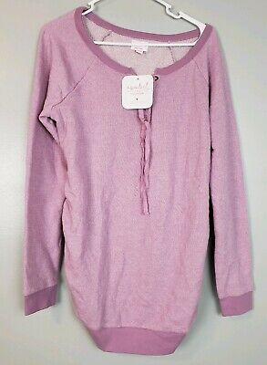 Isabel Maternity Women's Sweater Pink Long Sleeve Tie Front Top Sizes S M