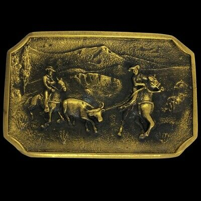 Cowboy Roping Cattle Rancher Branding Western Solid Brass Vintage Belt Buckle
