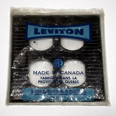 LEVITON vintage mid century ribbed Double duplex plate NOS brown bakelite