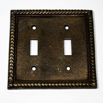 Heavy brass vintage double switch plate unbranded Antique brass tone