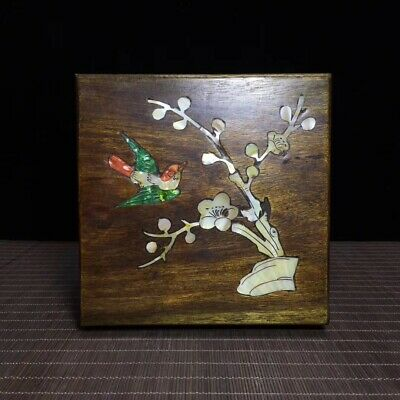 """6"""" China old carved huanghuali wood inlay shell Magpie Plum blossom Jewelry box"""
