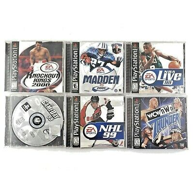 LOT 6 Sony PlayStation Sports Games KNOCKOUT KINGS Madden NBA NFL NHL WCW NWO
