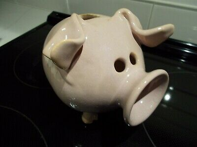 Rare vintage Piggy Bank pig figurine Collectible coin bank Folk art vase salmon