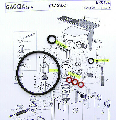 9x O Ring Silicone Groupe joint service complet Kit Gaggia Classic EPDM chaudière
