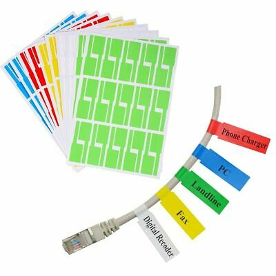 10 Sheets Cable Organisation Cord Name Tag Self Adhesive Sticker Sticky Label