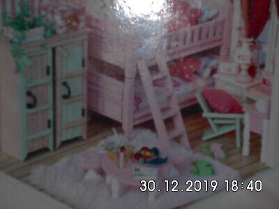 DIY Handcraft Miniature Project Dolls House with lights in pink
