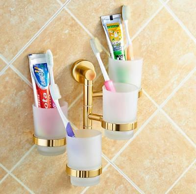 Wall Mount Aluminum Gold Shelf Bathroom Toothbrush Toothpaste Holder Tumbler Cup
