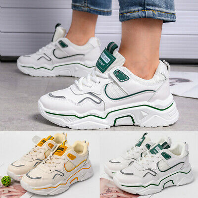 UK Womens Retro Chunky Sneakers Platform Trainers Ladies Sport Casual Shoes Size