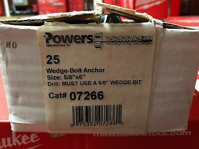 "5/8"" x 6"" POWERS FASTENERS -- Wedge Screw Anchor Concrete Bolts - 7266 (25/box)"
